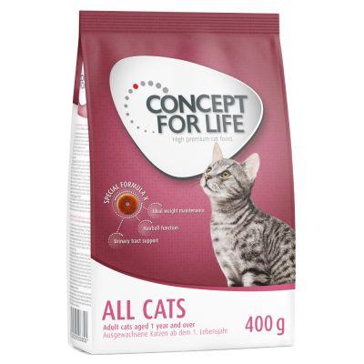 1 + 1 gratis! 2 x 400 g Concept for Life Katzentrockenfutter - All Cats 10+
