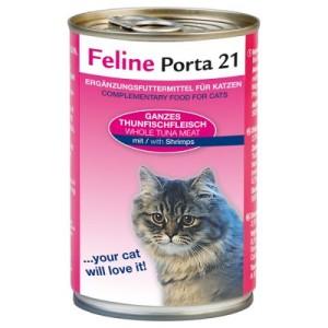 10 + 2 gratis! 12 x 400 g Feline Porta 21 - Thunfisch mit Aloe