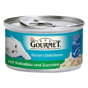 10 + 2 gratis! 12 x 85 g Gourmet Fischer´s Delikatessen - mit Kabeljau & Zucchini