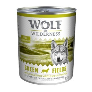 10 + 2 gratis! Wolf of Wilderness 12 x 800 g - Green Fields - Lamm