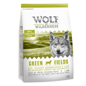 1+1 gratis! 2 x 1 kg Wolf of Wilderness Trockenfutter - Green Fields - Lamm