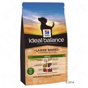 12 kg Hills Canine Ideal Balance + Rocco Rinderohren gratis! - Adult Large Breed Huhn & Reis