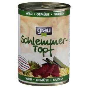 12 x 400 g Grau Schlemmertöpfe + Greenies Kausnack gratis! - Wild mit Gemüse & Nudeln