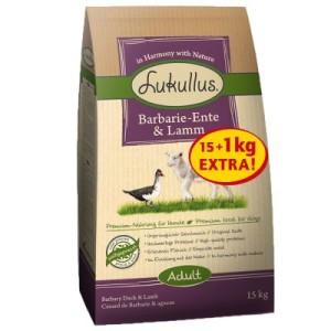 15 kg + 1 kg extra! 16 kg Lukullus Trockenfutter im Bonusbag - Adult Barbarie-Ente & Lamm