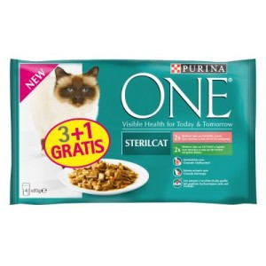 3 + 1 gratis! 4 x 85 g Purina ONE Adult - 2 x Truthahn und 2 x Lachs
