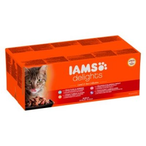 36 + 12 gratis! 48 x 85 g IAMS Delights Pouches - Land Mix in Gelee