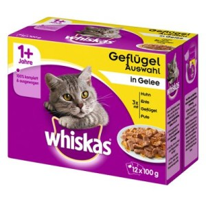 36 + 12 gratis! Whiskas 1+ Frischebeutel 48 x 100 g - 1+ Geflügelauswahl in Gelee