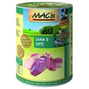5 + 1 gratis! 6 x 400 g MAC's Adult - Lamm & Ente