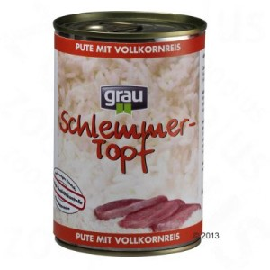 5 kg Grau Basis-Gemüse-Flocken + 6 x 400 g Schlemmertöpfe - Pute mit Vollkornreis