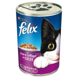 6 x 400 g Felix Häppchen in Gelee oder Leckerbissen in Soße - Leckerbissen in Soße Ente & Geflügel
