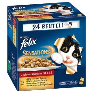 72 x 100 g Felix Pouches im Super-Sparpaket - Sensations Soßen Sause - Fleischauswahl