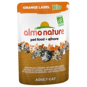 Almo Nature Orange Label Bio Pouches 6 x 70 g - Mix: je 3 x Huhn & Gemüse/Kalb & Gemüse