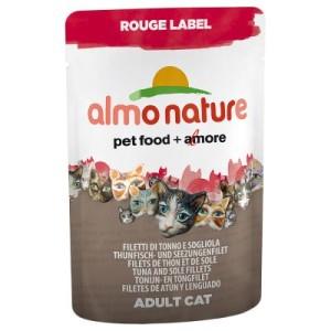 Almo Nature Rouge Label Filets im Frischebeutel 6 x 55 g - Mix: je 3 x Hühnerfilet und Surimi/Thunfischfilet und Algen