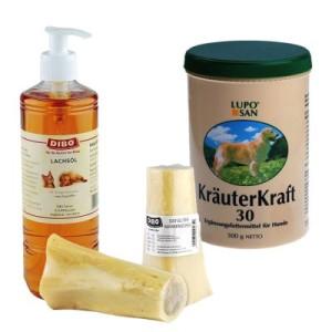 BARF Ergänzungspaket Vital und Schön - 4-teiliges Set: Lachsöl