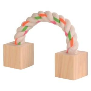 Baumwollspielseil mit Holzklötzchen - ca. 20 cm lang