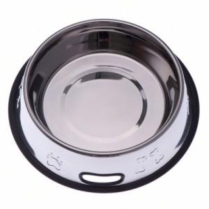Edelstahlfressnapf mit Prägung und Gummiring - Sparset: 2 x 450 ml