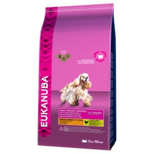 Eukanuba Adult Weight Control Medium Breed Huhn - 15 kg