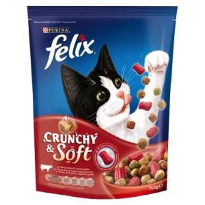 Felix Crunchy & Soft Trockenfutter 750 g - mit Rind