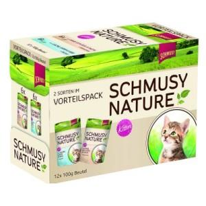 Gemischter Vorteilspack Schmusy Nature Kitten 12 x 100 g - Kalb