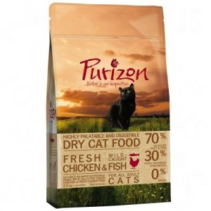 Gemischtes Paket Purizon Katzentrockennahrung - 3 x 400g: Huhn & Fisch