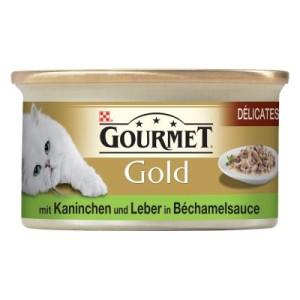 Gourmet Gold Délicatesse en Sauce 12 x 85 g - Kaninchen & Leber in Bechamel-Sauce