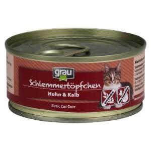 Grau Schlemmertöpfchen getreidefrei 6 x 100 g - Huhn & Kalb