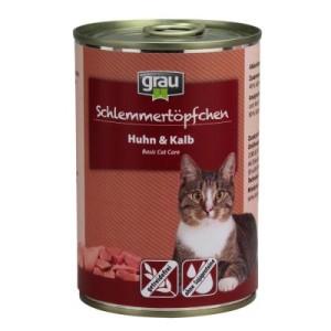 Grau Schlemmertöpfchen getreidefrei 6 x 400 g - Huhn & Kalb