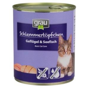 Grau Schlemmertöpfchen getreidefrei 6 x 800 g - Geflügel & Seefisch