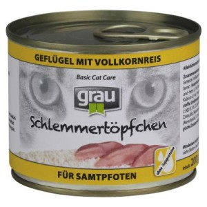 Grau Schlemmertöpfchen mit Vollkorn 6 x 200 g - Herz & Leber mit Vollkornreis
