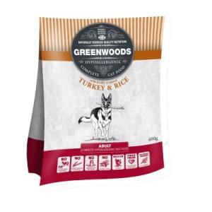 Greenwoods Nassfutter 12 x 395g + 400 g Trockenfutter gratis - Ente & brauner Reis + 400 g Truthan & Reis