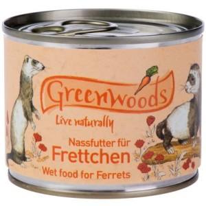 Greenwoods Nassfutter für Frettchen Huhn - 24 x 200 g