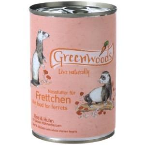 Greenwoods Nassfutter für Frettchen Rind & Huhn - 6 x 400 g