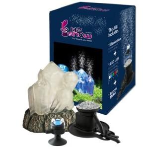 H2show Kristall Dekoration mit LED und Luftsprudler - Set mit Kristall
