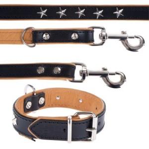 Heim Set: Vorführleine Stars + Lederhalsband Stars - Halsband Größe 40 + Leine 200 cm