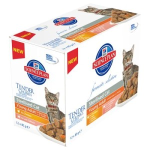 Hill's Feline Young Adult Sterilised 12 x 85 g - 6 x Huhn & 6 x Lachs