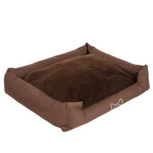 Hundebett Strong&Soft Premium mit Plüsch braun - L 80 x B 67 x H 22 cm