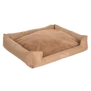 Hundebett Strong&Soft Premium mit Plüsch sand - L 100 x B 80 x H 25 cm
