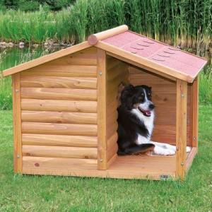 Hundehütte Blockhaus Natura mit Terrasse - Größe L: B 130 x T 100 x H 105 cm (2 Pakete*)