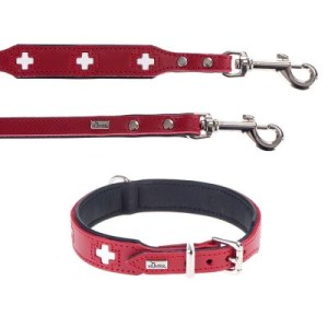 Hunter Set: Halsband Swiss + Hundeleine Swiss - Halsband Größe 65 + Leine 200 cm/18 mm