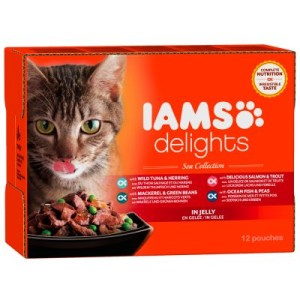 IAMS Delights Adult in Gelee 12 x 85 g - Land & Sea Mix