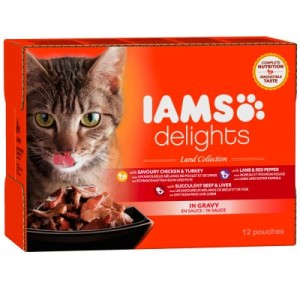 IAMS Delights Adult in Sauce 12 x 85 g - Land Mix