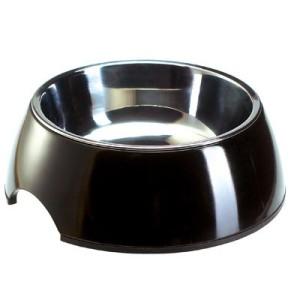 Katzennapf aus Melamin schwarz mit Edelstahl-Inlet - 350 ml