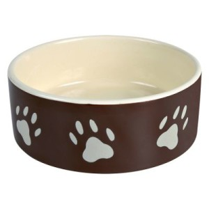 Keramik Fressnapf mit Pfoten braun - 300 ml