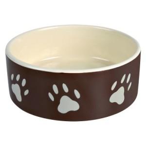 Keramik Fressnapf mit Pfoten braun - Sparset: 2 x 300 ml