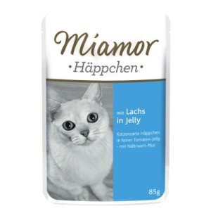 Miamor Häppchen in Jelly Pouch 12 x 85 g - Lachs in Tomatenjelly