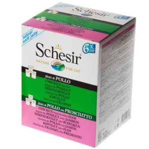 Mixpack Schesir Jelly Pouch 6 x 100 g - 3 x Hühnerfilet