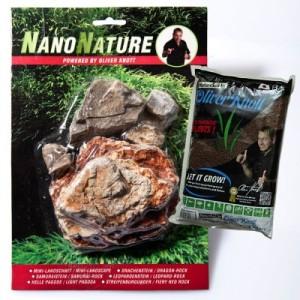 NanoNature Helle Pagode Set - 5 Steine + 3 Liter NatureSoil braun