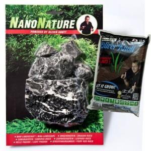 NanoNature Leopardenstein Set - 5 Steine + 3 Liter NatureSoil schwarz