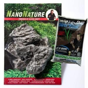 NanoNature Minilandschaft Set - 5 Steine + 3 Liter NatureSoil schwarz