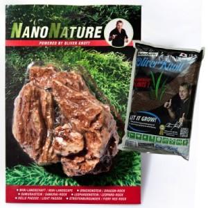 NanoNature Samuraistein Set - 5 Steine + 3 Liter NatureSoil schwarz